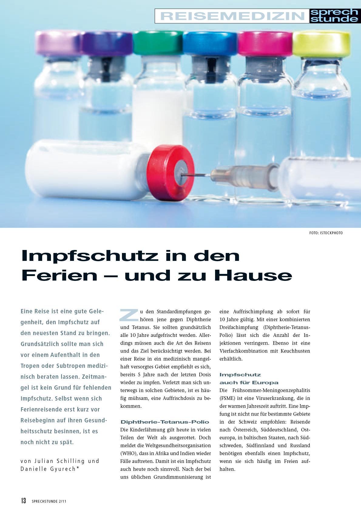 Artikel «Impfschutz in den Ferien»